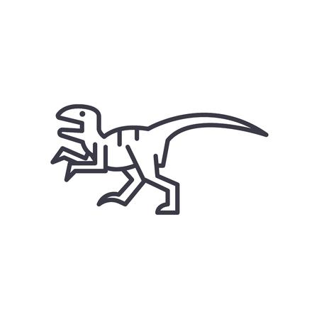 raptor vector line icon, sign, illustration on white background, editable strokes