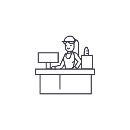 receptionist woman vector line icon, sign, illustration on white background, editable strokes