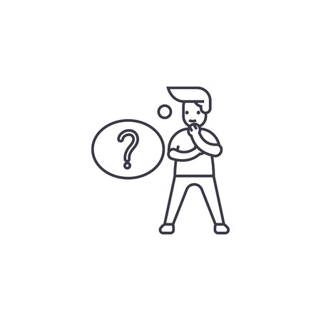 question solving vector line icon, sign, illustration on white background, editable strokes