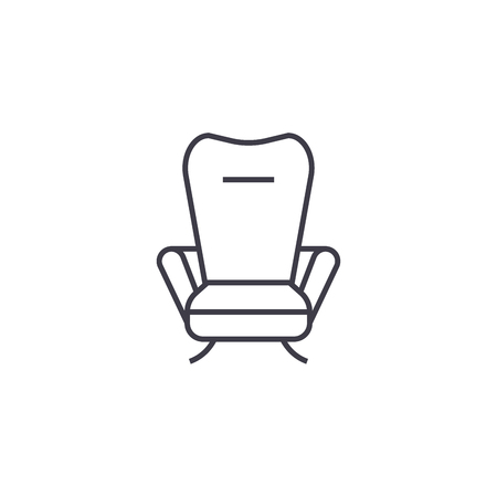 recliner vector line icon, sign, illustration on white background, editable strokes