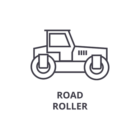 road roller vector line icon, sign, illustration on white background, editable strokes
