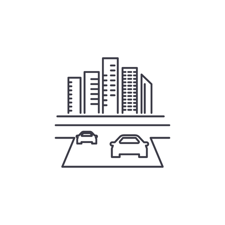 road to the city vector line icon, sign, illustration on white background, editable strokes