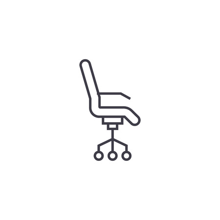 rolling armchair vector line icon, sign, illustration on white background, editable strokes
