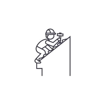 Icône de ligne de vecteur de réparation de toit, signe, illustration sur fond blanc, traits modifiables
