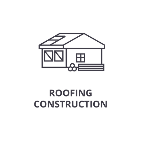 roofing construction vector line icon, sign, illustration on white background, editable strokes Illustration