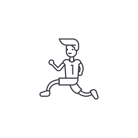 running to win vector line icon, sign, illustration on white background, editable strokes