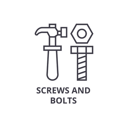 screws and bolts vector line icon, sign, illustration on white background, editable strokes