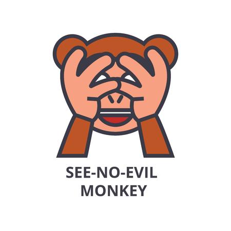 see no evil emoji vector line icon, sign, illustration on white background, editable strokes Stock Illustratie