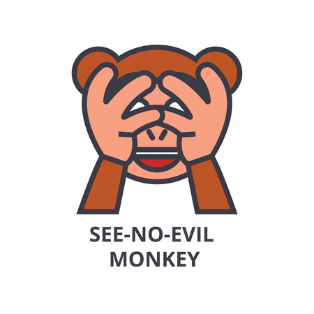 see no evil emoji vector line icon, sign, illustration on white background, editable strokes Illustration