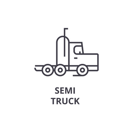 semi truck vector line icon, sign, illustration on white background, editable strokes Illustration