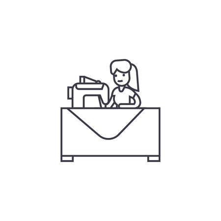 sewing woman  vector line icon, sign, illustration on white background, editable strokes