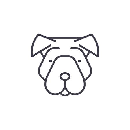 shar pei vector line icon, sign, illustration on white background, editable strokes