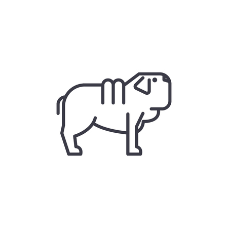 shar pei dog vector line icon, sign, illustration on white background, editable strokes Banco de Imagens - 100812837