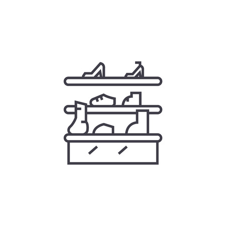 shoe stand vector line icon, sign, illustration on white background, editable strokes