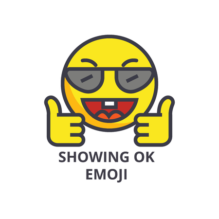 showing ok emoji vector line icon, sign, illustration on white background, editable strokes Illusztráció