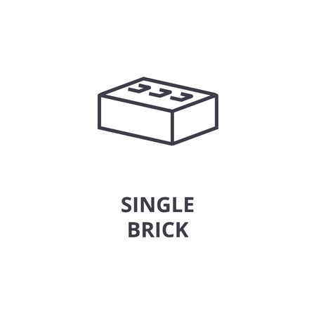 single brick vector line icon, sign, illustration on white background, editable strokes