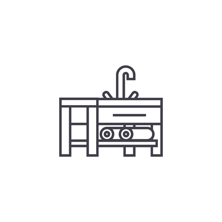 sink with a faucet vector line icon, sign, illustration on white background, editable strokes 일러스트