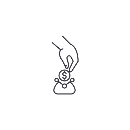 small cash purse vector line icon, sign, illustration on white background, editable strokes