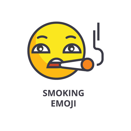 smoking emoji vector line icon, sign, illustration on white background, editable strokes