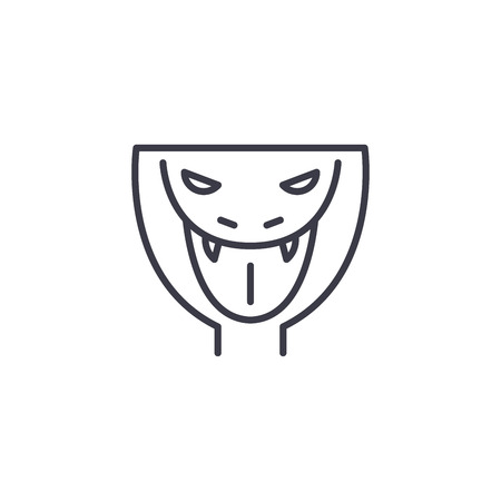 snake head vector line icon, sign, illustration on white background, editable strokes