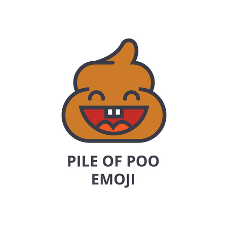 pile of poo emoji vector line icon, sign, illustration on white background, editable strokes