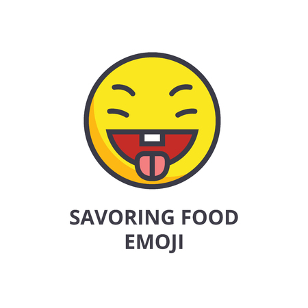 Savoring food emoji vector line icon, sign, illustration on white background, editable strokes Reklamní fotografie - 100813660