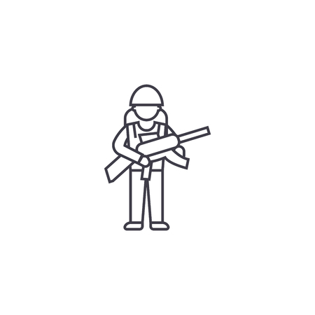 Soldier gear vector line icon, sign, illustration on white background, editable strokes