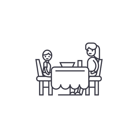 Son and mom having dinner vector line icon, sign, illustration on white background, editable strokes