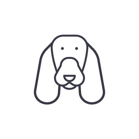 Spaniel vector line icon, sign, illustration on white background, editable strokes