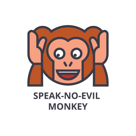 Speak no evil emoji vector line icon, sign, illustration on white background, editable strokes