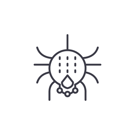 Spider vector line icon, sign, illustration on white background, editable strokes