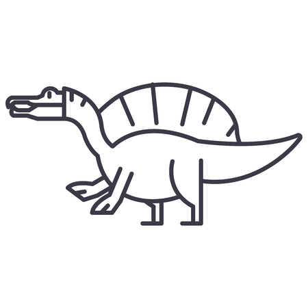 Spinosaurus vector line icon, sign, illustration on white background, editable strokes
