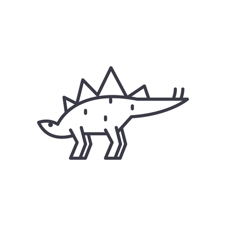 stegosaurus vector line icon, sign, illustration on white background, editable strokes  イラスト・ベクター素材