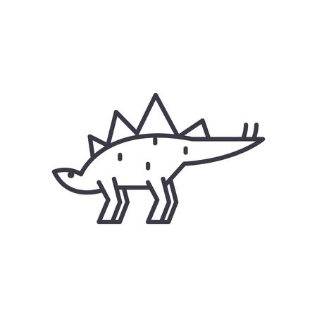 stegosaurus vector line icon, sign, illustration on white background, editable strokes Illustration