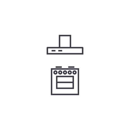 stove with a vent vector line icon, sign, illustration on white background, editable strokes  イラスト・ベクター素材