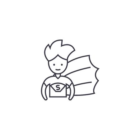 super hero kid vector line icon, sign, illustration on white background, editable strokes 向量圖像