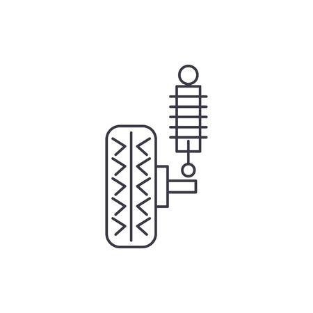 suspension vector line icon, sign, illustration on white background, editable strokes Illustration