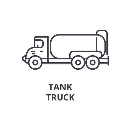 tank truck vector line icon, sign, illustration on white background, editable strokes