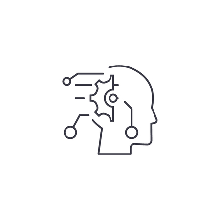 technical mind vector line icon, sign, illustration on white background, editable strokes