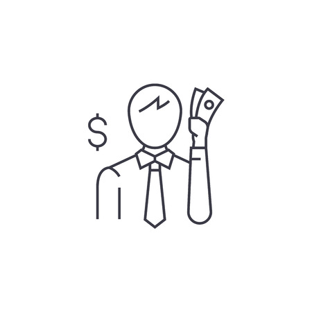 thinking about money vector line icon, sign, illustration on white background, editable strokes Standard-Bild - 100814070