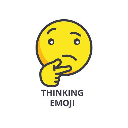 thinking emoji vector line icon, sign, illustration on white background, editable strokes 向量圖像