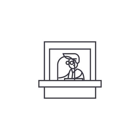 ticket office vector line icon, sign, illustration on white background, editable strokes Stock Illustratie