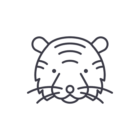 tiger head vector line icon, sign, illustration on white background, editable strokes
