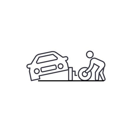 tire replacement vector line icon, sign, illustration on white background, editable strokes 矢量图像