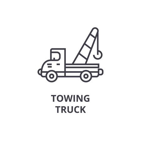 towing truck vector line icon, sign, illustration on white background, editable strokes Banque d'images - 100814230
