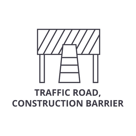 traffic road, construction barrier vector line icon, sign, illustration on white background, editable strokes Ilustração