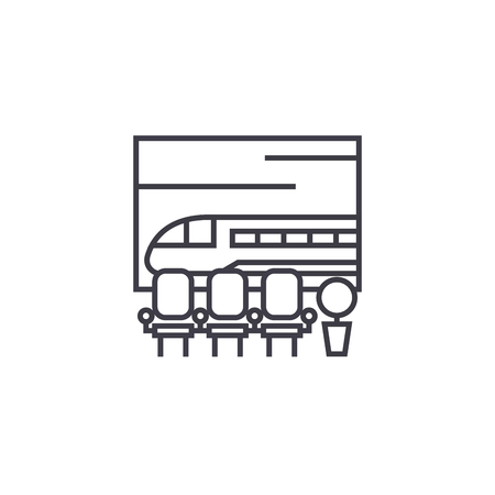 train station vector line icon, sign, illustration on white background, editable strokes