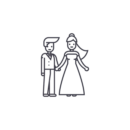 wedding couple vector line icon, sign, illustration on white background, editable strokes Illustration