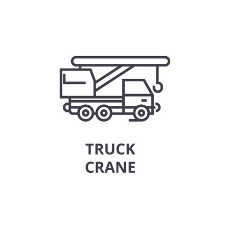 truck crane vector line icon, sign, illustration on white background, editable strokes