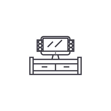 67d6b6b06af tv cabinet vector line icon